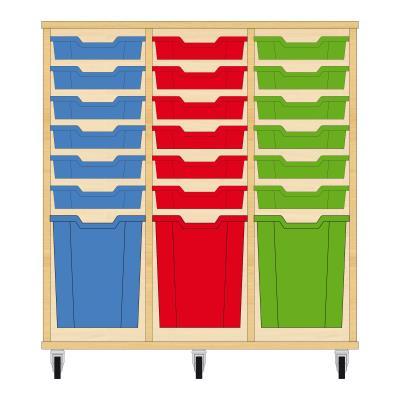 Storix Materiaalkast 51 beuken, B1050xH1028xD465 - laden blauw-rood-groen