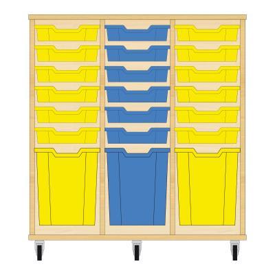 Storix Materiaalkast 51 beuken, B1050xH1028xD465 - laden geel-blauw-geel