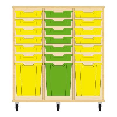 Storix Materiaalkast 51 beuken, B1050xH1028xD465 - laden geel-groen-geel