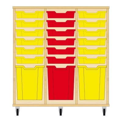 Storix Materiaalkast 51 beuken, B1050xH1028xD465 - laden geel-rood-geel