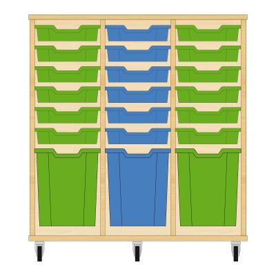 Storix Materiaalkast 51 beuken, B1050xH1028xD465 - laden groen-blauw-groen