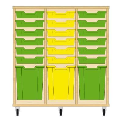 Storix Materiaalkast 51 beuken, B1050xH1028xD465 - laden groen-geel-groen