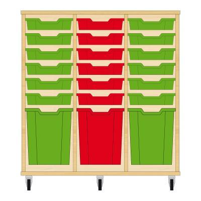 Storix Materiaalkast 51 beuken, B1050xH1028xD465 - laden groen-rood-groen
