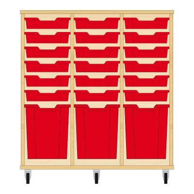 Storix Materiaalkast 51 beuken, B1050xH1028xD465 - laden rood