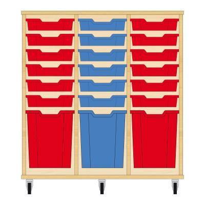 Storix Materiaalkast 51 beuken, B1050xH1028xD465 - laden rood-blauw-rood