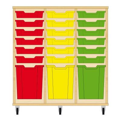 Storix Materiaalkast 51 beuken, B1050xH1028xD465 - laden rood-geel-groen
