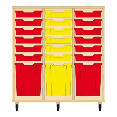 Storix Materiaalkast 51 beuken, B1050xH1028xD465 - laden rood-geel-rood