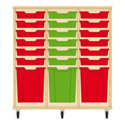 Storix Materiaalkast 51 beuken, B1050xH1028xD465 - laden rood-groen-rood