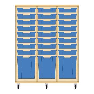 Storix Materiaalkast 51 beuken, B1050xH1200xD465 - laden blauw