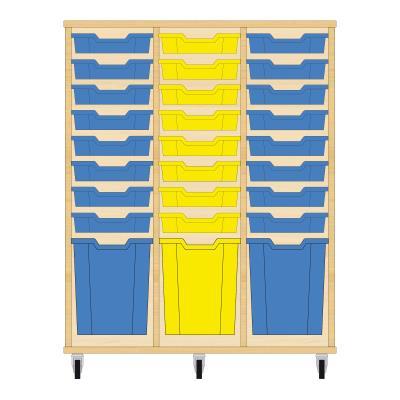 Storix Materiaalkast 51 beuken, B1050xH1200xD465 - laden blauw-geel-blauw
