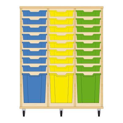 Storix Materiaalkast 51 beuken, B1050xH1200xD465 - laden blauw-geel-groen