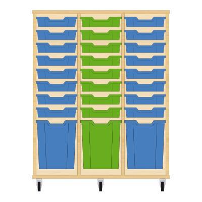 Storix Materiaalkast 51 beuken, B1050xH1200xD465 - laden blauw-groen-blauw