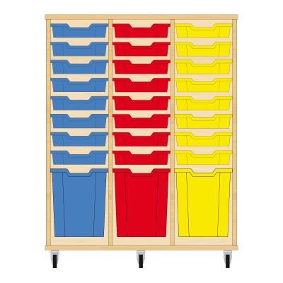 Storix Materiaalkast 51 beuken, B1050xH1200xD465 - laden blauw-rood-geel