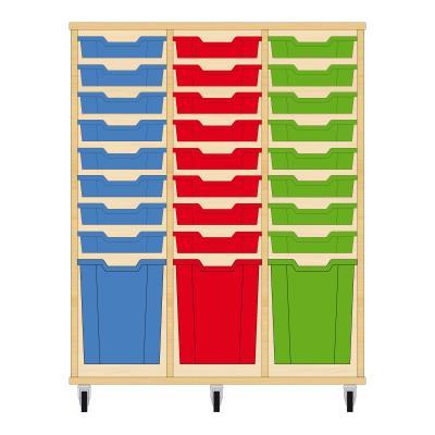 Storix Materiaalkast 51 beuken, B1050xH1200xD465 - laden blauw-rood-groen