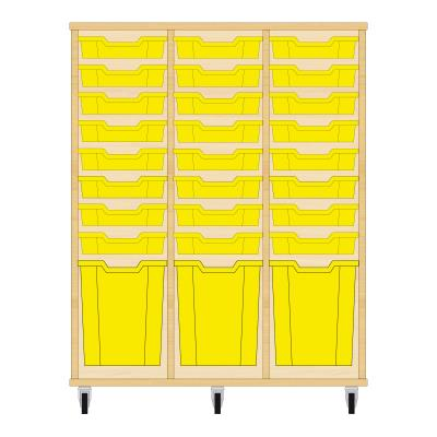 Storix Materiaalkast 51 beuken, B1050xH1200xD465 - laden geel