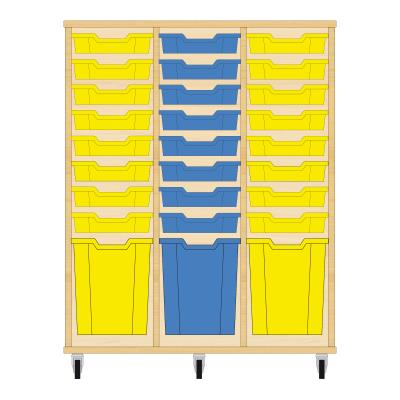 Storix Materiaalkast 51 beuken, B1050xH1200xD465 - laden geel-blauw-geel