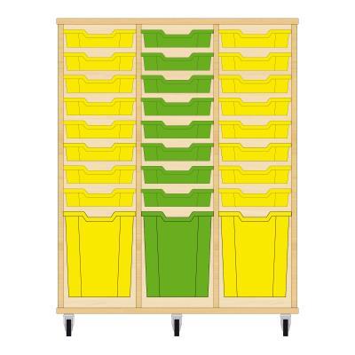 Storix Materiaalkast 51 beuken, B1050xH1200xD465 - laden geel-groen-geel