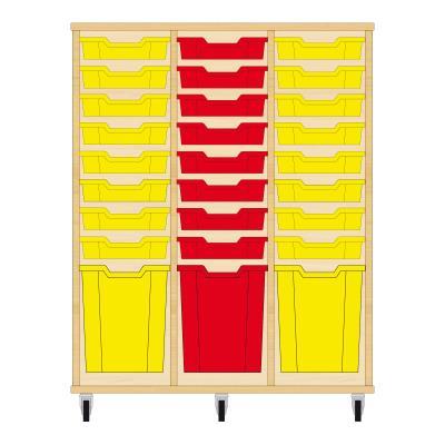Storix Materiaalkast 51 beuken, B1050xH1200xD465 - laden geel-rood-geel