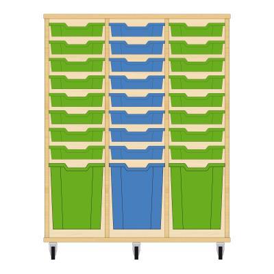 Storix Materiaalkast 51 beuken, B1050xH1200xD465 - laden groen-blauw-groen