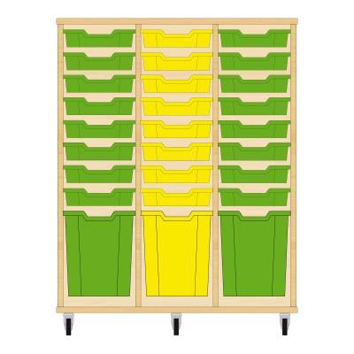 Storix Materiaalkast 51 beuken, B1050xH1200xD465 - laden groen-geel-groen