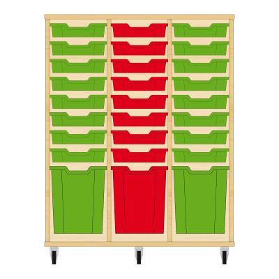Storix Materiaalkast 51 beuken, B1050xH1200xD465 - laden groen-rood-groen