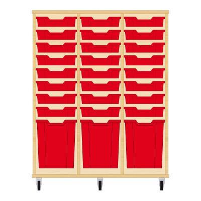 Storix Materiaalkast 51 beuken, B1050xH1200xD465 - laden rood