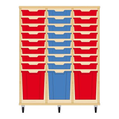 Storix Materiaalkast 51 beuken, B1050xH1200xD465 - laden rood-blauw-rood
