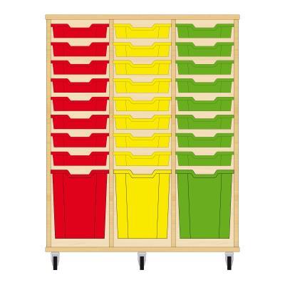 Storix Materiaalkast 51 beuken, B1050xH1200xD465 - laden rood-geel-groen