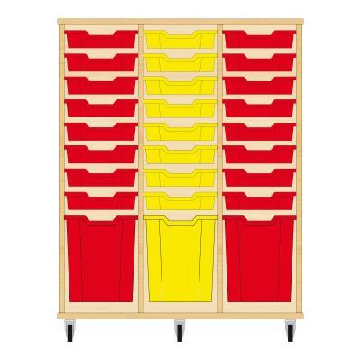 Storix Materiaalkast 51 beuken, B1050xH1200xD465 - laden rood-geel-rood