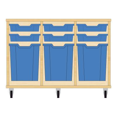 Storix Materiaalkast 51 beuken, B1050xH684xD465 - laden blauw