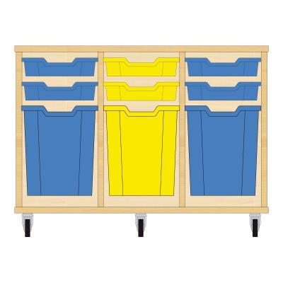 Storix Materiaalkast 51 beuken, B1050xH684xD465 - laden blauw-geel-blauw
