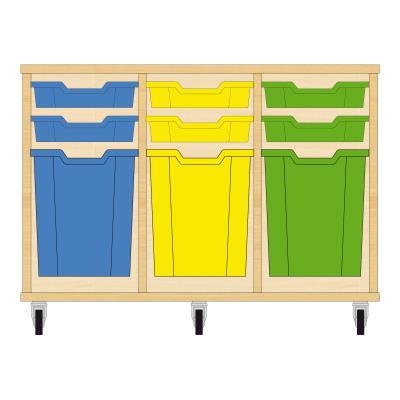 Storix Materiaalkast 51 beuken, B1050xH684xD465 - laden blauw-geel-groen