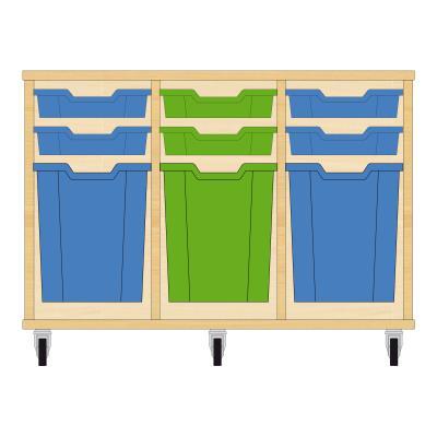 Storix Materiaalkast 51 beuken, B1050xH684xD465 - laden blauw-groen-blauw