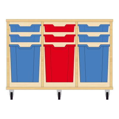 Storix Materiaalkast 51 beuken, B1050xH684xD465 - laden blauw-rood-blauw
