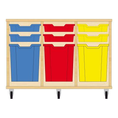 Storix Materiaalkast 51 beuken, B1050xH684xD465 - laden blauw-rood-geel