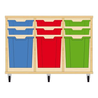 Storix Materiaalkast 51 beuken, B1050xH684xD465 - laden blauw-rood-groen