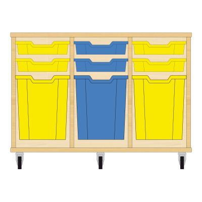 Storix Materiaalkast 51 beuken, B1050xH684xD465 - laden geel-blauw-geel