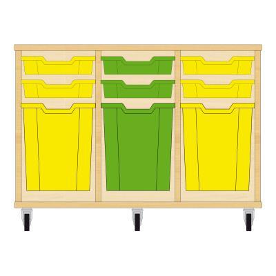 Storix Materiaalkast 51 beuken, B1050xH684xD465 - laden geel-groen-geel