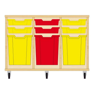 Storix Materiaalkast 51 beuken, B1050xH684xD465 - laden geel-rood-geel