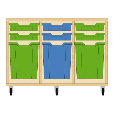 Storix Materiaalkast 51 beuken, B1050xH684xD465 - laden groen-blauw-groen