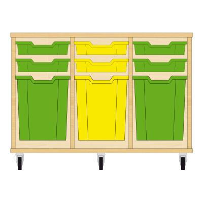 Storix Materiaalkast 51 beuken, B1050xH684xD465 - laden groen-geel-groen