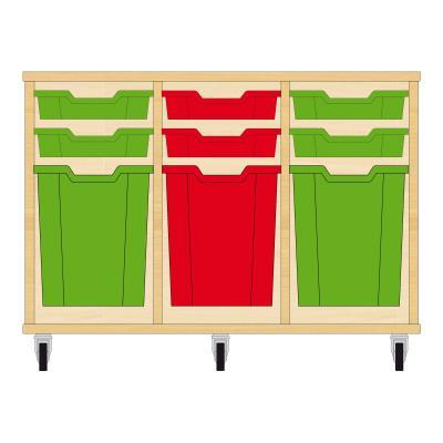 Storix Materiaalkast 51 beuken, B1050xH684xD465 - laden groen-rood-groen