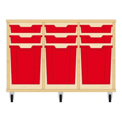 Storix Materiaalkast 51 beuken, B1050xH684xD465 - laden rood