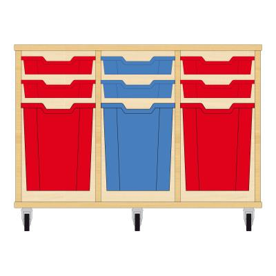 Storix Materiaalkast 51 beuken, B1050xH684xD465 - laden rood-blauw-rood