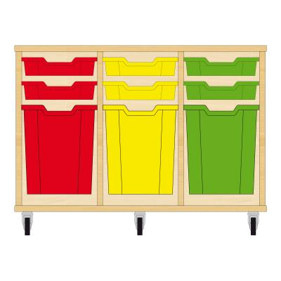 Storix Materiaalkast 51 beuken, B1050xH684xD465 - laden rood-geel-groen