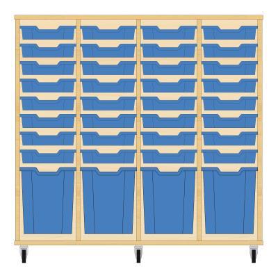 Storix Materiaalkast 51 beuken, B1390xH1200xD465 - laden blauw