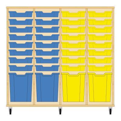 Storix Materiaalkast 51 beuken, B1390xH1200xD465 - laden blauw-blauw-geel-geel