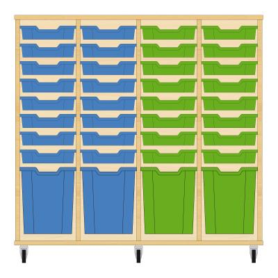 Storix Materiaalkast 51 beuken, B1390xH1200xD465 - laden blauw-blauw-groen-groen