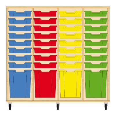 Storix Materiaalkast 51 beuken, B1390xH1200xD465 - laden blauw-rood-geel-groen