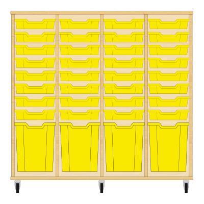 Storix Materiaalkast 51 beuken, B1390xH1200xD465 - laden geel